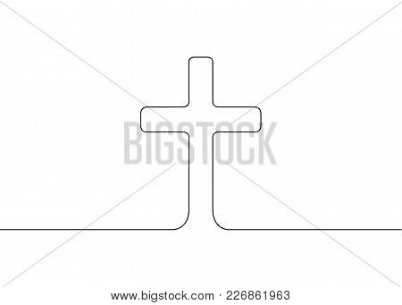 Continuous Drawn One Line Isolated Symbol Of The Emblem Of Religion.cross Latin Christianity