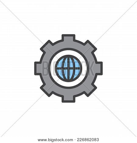 Gear With Globe Filled Outline Icon, Line Vector Sign, Linear Colorful Pictogram Isolated On White.