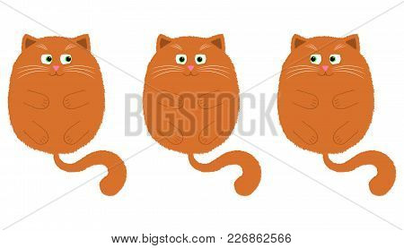 Vector Orange Cat In Cartoon Style. Funny Illustration Of Orange Kitten With Green Eyes, Lying On Th
