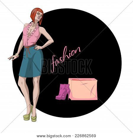 Fashion Vector Illustration. Beautiful Young Model Woman With Shoes