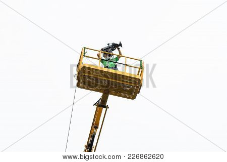 Cameraman On A Crane, Filming At A Sporting Event...