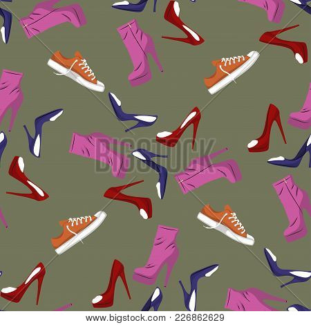 Seamless Pattern Of Shoes - Running Shoes Sneakers, Boots, High-heeled Shoe. Design Element. Fashion