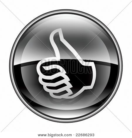 Thumb Up Icon Black, Approval Hand Gesture, Isolated On White Background.