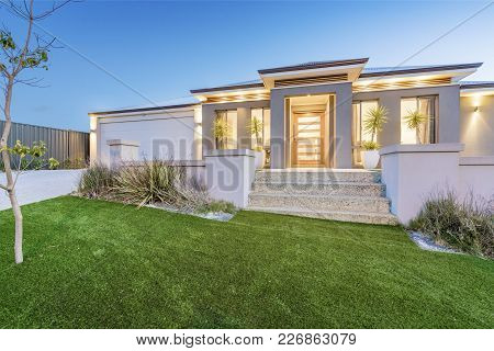 Front Elevation / Facade Of A New Modern Australian Style Home. Perth, Western Australia. Photograph