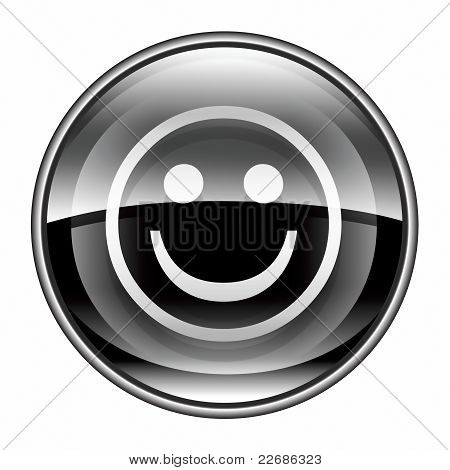 Smiley Face Black, Isolated On White Background.