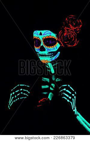 Suit And Makeup Of Santa Muerta For The Celebration Of Halloween Or The Day Of Death.  Saint Death O