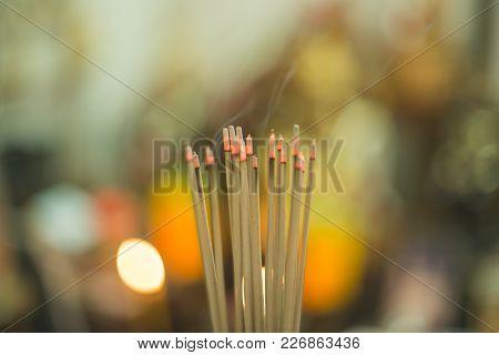 Joss Stick Incense Burner Pray God Culture China Thai Am