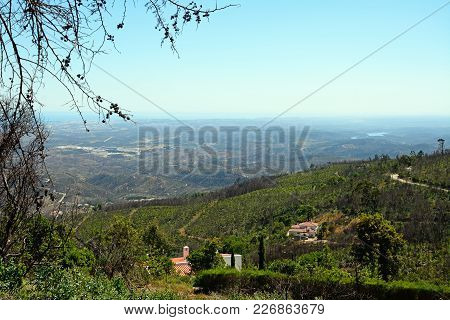 Elevated View Across The Monchique Mountains And Countryside, Monchique, Algarve, Portugal, Europe.