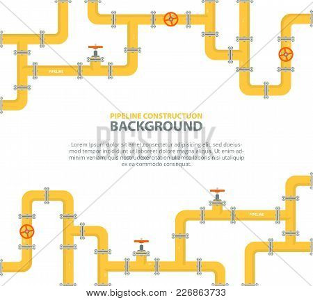 Industrial Background With Yellow Pipeline. Oil, Water Or Gas Pipeline With Fittings And Valves. Vec