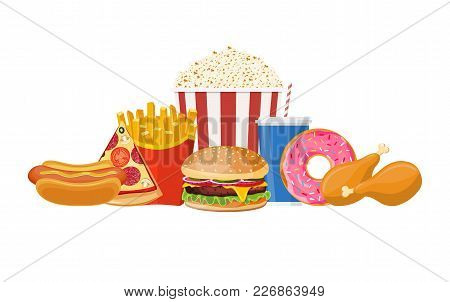 Fast Food Isolated On White Background. Fast Food Hamburger Dinner And Restaurant, Tasty Set Fast Fo