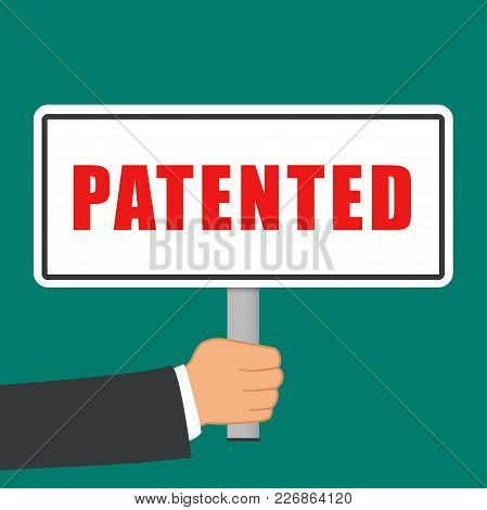 Illustration Of Patented Word Sign Flat Concept