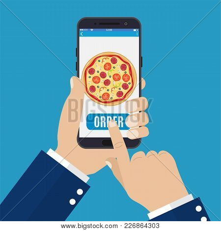Online Order Pizza. Hand Holding Smartphone With Pizza On The Screen. Order Fast Food Concept. Vecto