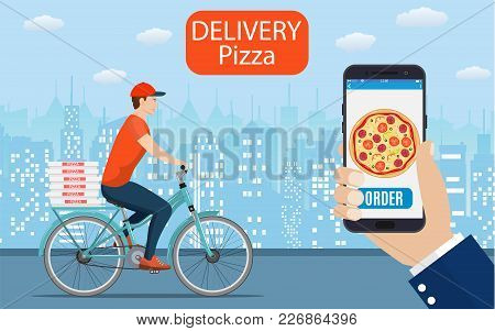 Italian Pizza Delivery Poster With Courier On Bicycle. Online Ordering Food On Home, Product Shippin