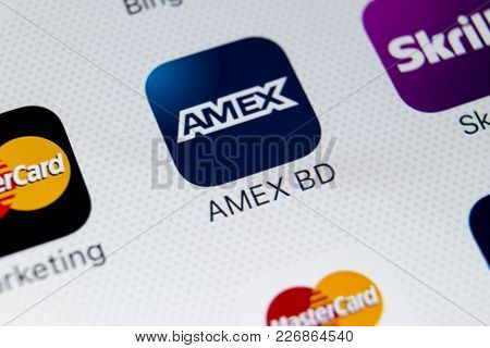 Sankt-petersburg, Russia, February 9, 2018: Amex Application Icon On Apple Iphone 8 Smartphone Scree