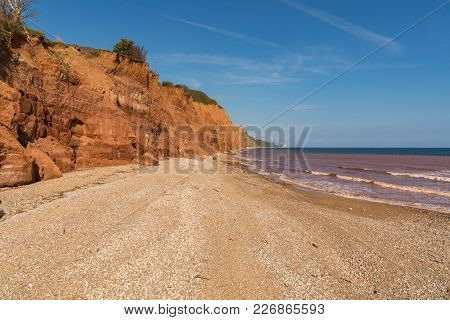 Cliffs And Pebble Beach, Seen From The Esplanade, Sidmouth, Jurassic Coast, Devon, Uk