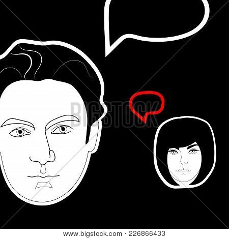 Dialog Between Man And Woman. Black And White Vector Illustration.