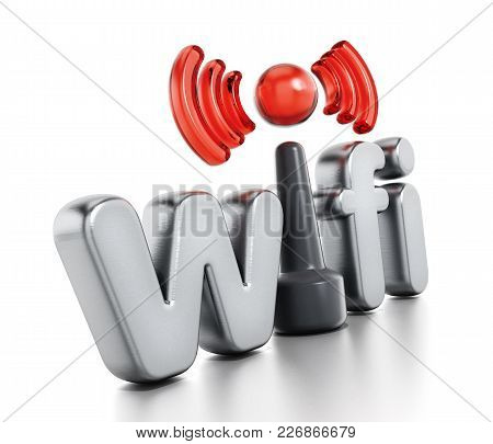 Wifi Logo And Wireless Connection Symbol. 3d Illustration.