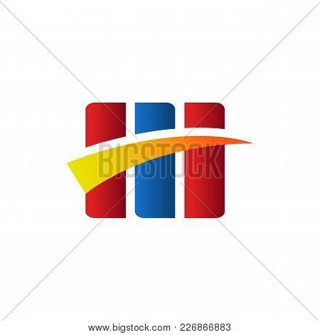 Triple Box Swoosh Symbol Vector Illustration Graphic Design
