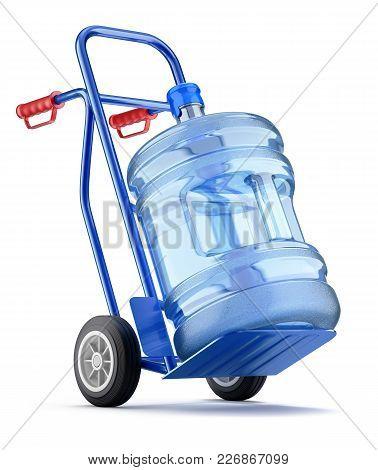 Hand Truck With Water Dispenser Bottle - 3d Illustration