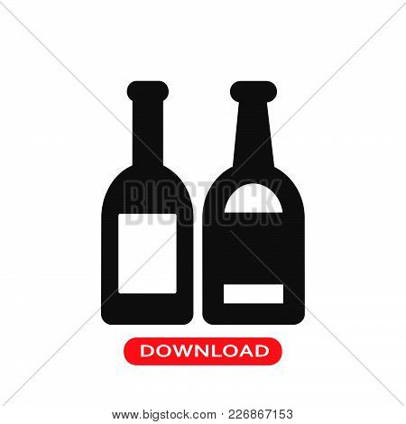 Drinks Bottles Icon Vector In Modern Flat Style For Web, Graphic And Mobile Design. Drinks Bottles I