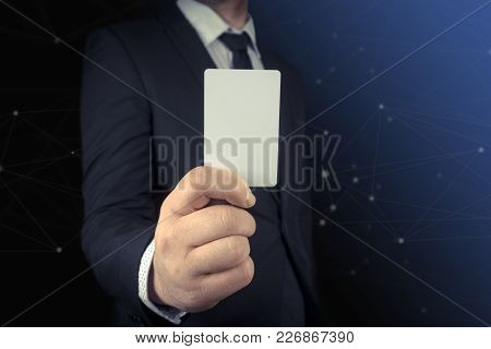 Businessman Showing Word I Quit On Dark Background. Blank Card Space For Put Your Text.
