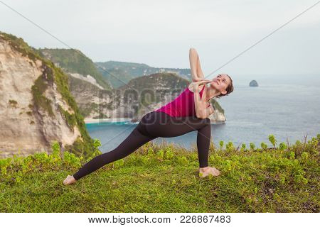 Yoga Woman On Cliff Near Ocean, Nature Background