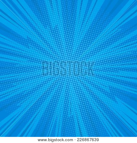Pop Art Comic Background Lightning Blast Halftone Dots. Cartoon Vector Illustration On Blue