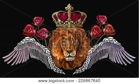 Embroidery Lion In Crown, Angel Wings And Roses. Embroidery Lion. Fashion Modern Embroidery Lion Hea