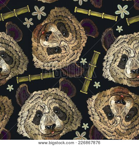 Embroidery Panda Head, Bamboo Forest And Flowers Seamless Pattern. Classical Embroidery Portrait Of