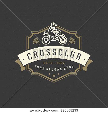 Motocross Logo Template Vector Design Element Vintage Style For Label Or Badge Retro Illustration. M