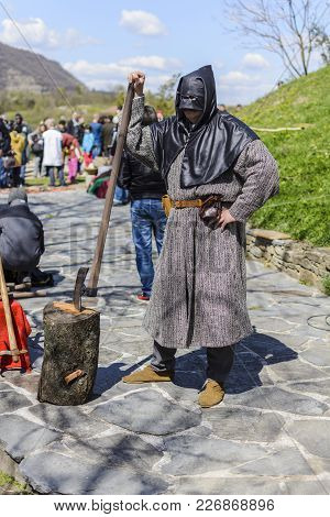 Veliko Tarnovo,bulgaria, April 04 2015, False Executioner Taking The Pose And Making The Show For Th