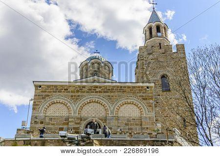 Veliko Tarnovo,bulgaria, April 04 2015: Tourist Visiting The Church Of The Tsarevets Stronghold In V