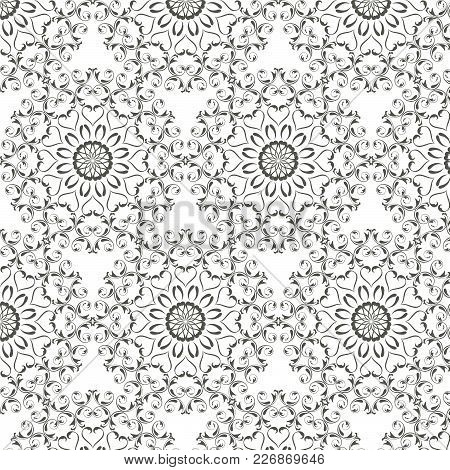 Oriental Vector Pattern With Round Arabesques Elements