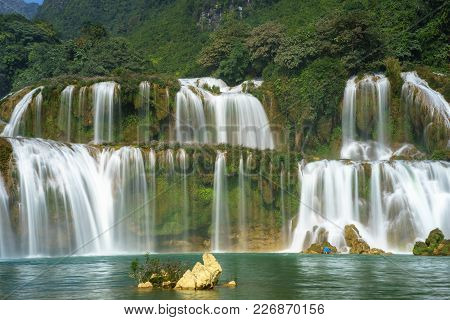 Ban Gioc Waterfall In North Of Vietnam.