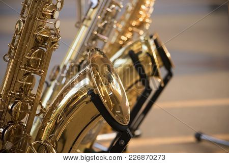 Saxophone Detail.jazz Festival Group Of Saxophone Music Instrument For Musician