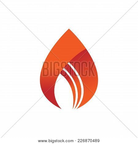 Abstract Simple Flame Fire Symbol Vector Illustration Graphic Design