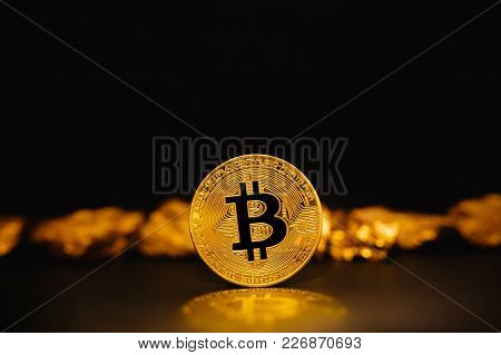 Bitcoin. Bitcoin On Golden Nugget Gold Background. Concept Bitcoin Cryptocurrency, Business