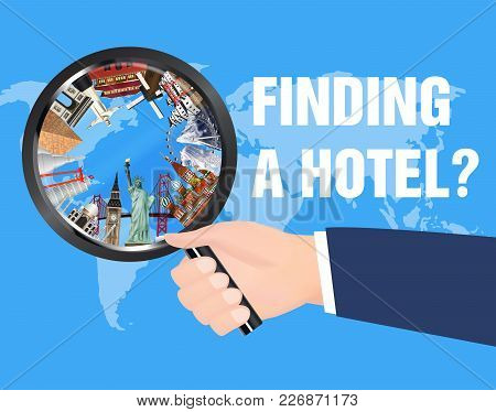 Hand Use Magnifying Glass Find Hotel For Travel