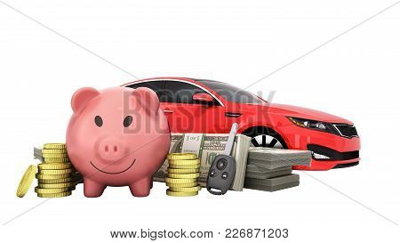 Concept Of Savings To Buy A Car Money Pig Dollar Bills In Stacks Car 3d Render On White No Shadow