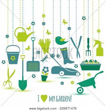 Garden Tools Set. Spring Seasons Illustration Of Icons.