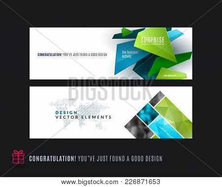 Abstract Vector Set Of Modern Horizontal Website Banners With Colourful Triangle Shapes, Abstract Sh