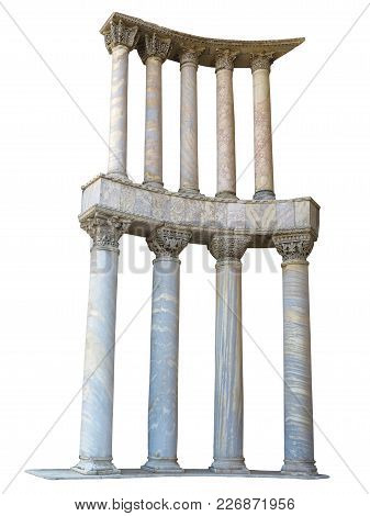 Ancient Colonnade Marble Stone Columns Isolated On White Background