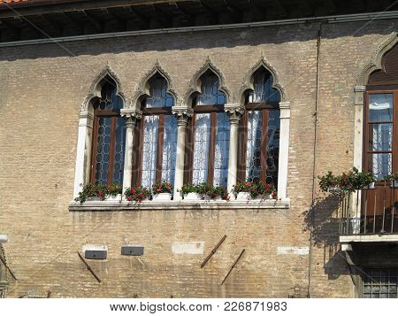 Vintage Window And Detail Of A Classical Building In The Historical Center Of Venezia.