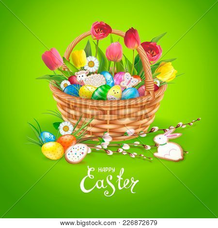 Easter Composition With Realistic Glossy Eggs And Cookies In The Form Of Eggs, Chicken, Bunny, Lamb