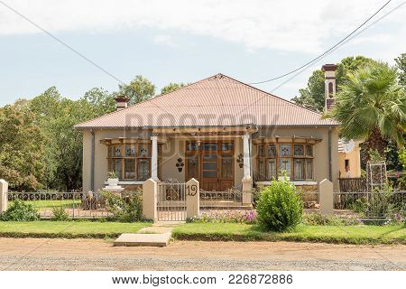 Excelsior, South Africa, February 11, 2018: An Historic Old House, With Stained Glass Windows, In Ex