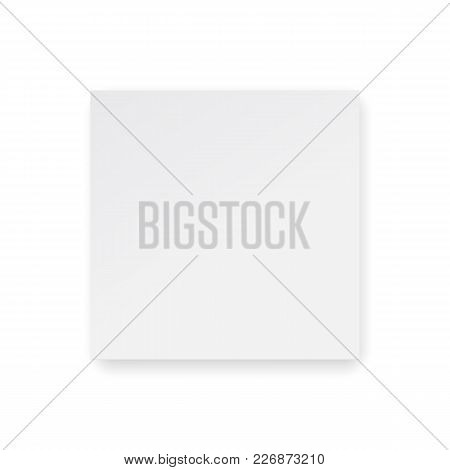 Square Cardboard Box Mock Up - Top View. Blank Cube Isolated On White Background - View From Above.