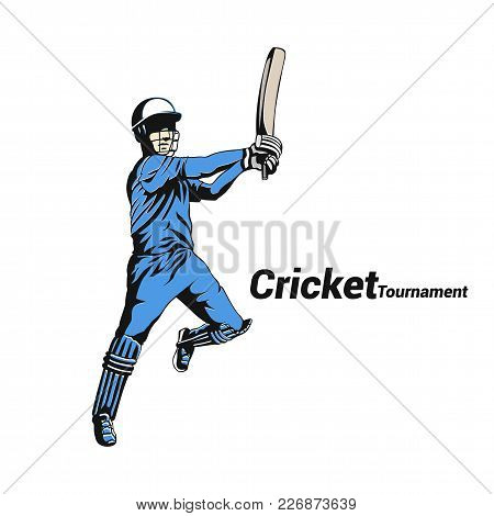 Cricket Player Batsman White Background With Typography Vector Illustration Design.
