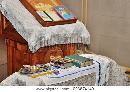 Accessories For The Christening Of Children Icons Of Candles And Font, The Ortodox Church.