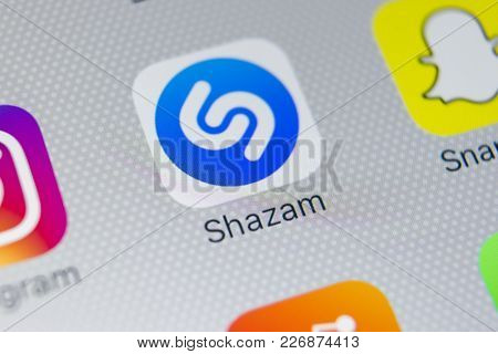 Sankt-petersburg, Russia, February 16, 2018: Shazam Application Icon On Apple Iphone X Screen Close-