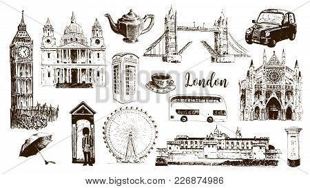London Architectural Symbols: Big Ben, Tower Bridge, Bus, Mail Box, Call Box. St. Paul Cathedral. Be